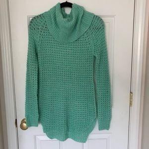 Mint Waffle Knit Turtleneck Sweater Dress